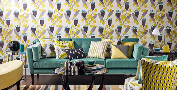 Bellflower Black Yellow Tapete Wandgestaltung